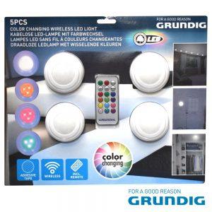 Conjunto De 4 Apliques LED RGB+W C/ Comando Grundig - (10526)