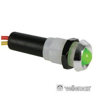 LED Piloto 12V Verde Caixa Abs Cromada VELLEMAN - (12VCG)