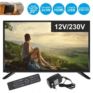 "TV LED 20"" Hd 1 HDMI USB Dvb-T/C 2 Colunas 230/12V - (20SUN19D)"