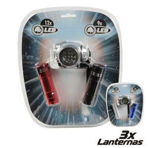 Conjunto 3 Lanternas 2 X 9 LEDS + 1 X 12 LEDS - (27146)