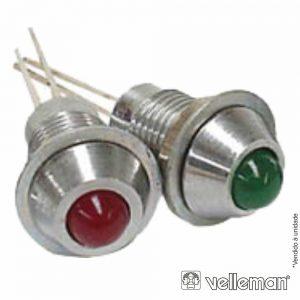 LED Piloto 2v Verde Caixa Metálica Cromada VELLEMAN - (2VG2)