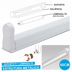 Armadura 60cm P/ Lâmpada Tubular T8 - (31120)
