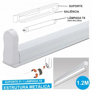 Armadura 1.2m P/ Lâmpada Tubular T8 - (31121)