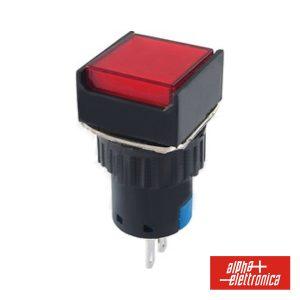Comutador Pulsador Quadrado 230V 1 Na 1 Nf Vermelho Unipo - (330-046-1)