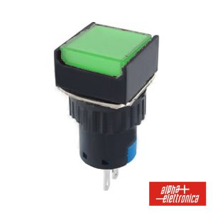 Comutador Pulsador Quadrado 230V 1 Na 1 Nf Verde Unipolar - (330-046-4)