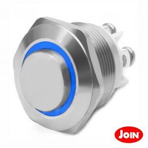 Comutador Pulsador Metal Redondo 12V Na Azul - (330-058-5)