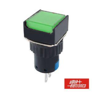 Comutador Pulsador Quadrado 230V 1 Na 1 Nf Verde Unipolar - (330-074-4)