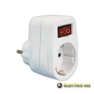 Tomada Elétrica C/ 1 Saída Interruptor Branco EDH - (36.082)