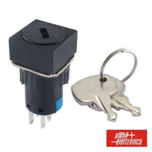 Interruptor C/ Chave De 2 Circuitos 230V 2no-2nc Quadrado - (360-008)