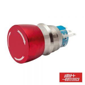 Comutador Pulsador De Emergência Metalico 230V 2no-2nc - (360-032)