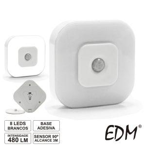 Lanterna De Parede 8 LEDS Brancos C/ Sensor 90º - (36097)