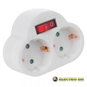 Tomada Elétrica C/ 2 Saídas Interruptor Branco Edh - (36.088)