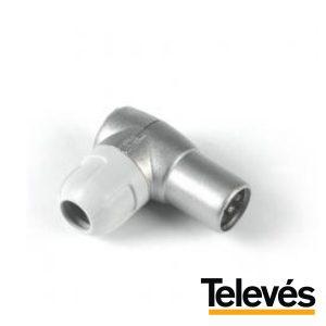 Ficha Coaxial Macho 9.5mm Angular Televés - (4130)