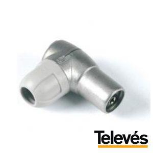 Ficha Coaxial Fêmea 9.5mm Angular Televés - (4131)