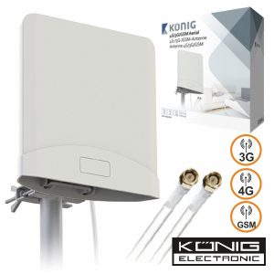 Antena 4g/3g/Gsm Amplificada C/2 Cabos 2.5m Konig - (4G20)