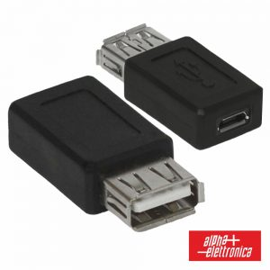 Ficha Adaptadora USB-A Fêmea / Micro USB Fêmea - (64-544)