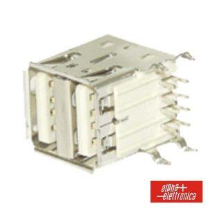 Ficha USB-A Dupla 90º Circuito Impresso - (64-582)