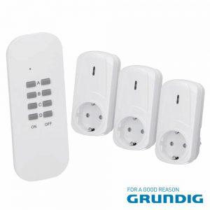 Conjunto De 3 Tomadas Elétricas C/ Comando S/Fios Grundig - (72647)