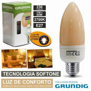 Lâmpada E27 11W=55W 230V Eco Tec. Softone 230lm Grundig - (86890)