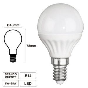 Lâmpada E14 5W 230V LEDS SMD Globo Branco Quente - (98323)