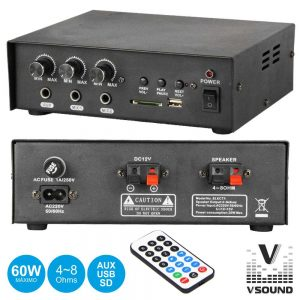 Amplificador 12/230V 3 Entradas 60W Mp3/USB/SD VSOUND - (VSPA30U)