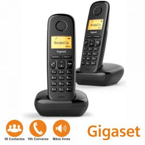 Conjunto 2 Telefones S/ Fios A170 Preto Gigaset - (A170B-DUO)