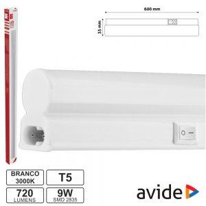 Armadura LED 9W 60cm IP20 3000k 710lm AVIDE - (AB600T5-9W-WW)
