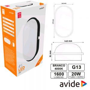 Aplique LEDS Oval 20W 270x145mm 4000k 1600lm IP65 AVIDE - (ABBHL-O-20W-NW-BL)