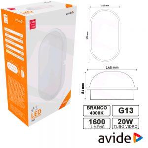 Aplique LEDS Oval 20W 270x145mm 4000k 1600lm IP65 AVIDE - (ABBHL-O-20W-NW)