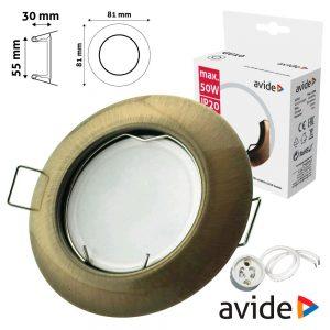 Aro Redondo Fixo Cónico Cobre P/ MR16-GU10 AVIDE - (ABGU10F-C-CO)