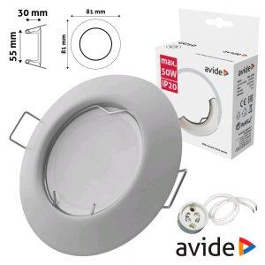 Aro Redondo Fixo Cónico Branco P/ MR16-GU10 AVIDE - (ABGU10F-C-W)