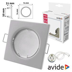 Aro Quadrado Fixo Branco P/ MR16-GU10 AVIDE - (ABGU10F-S-W)