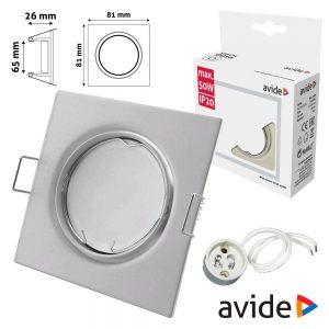 Aro Quadrado Ajustável Branco P/ MR16-GU10 AVIDE - (ABGU10F-SS-W)