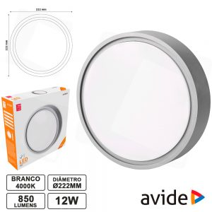 Aplique LED Redondo 12W 222mm 4000k 850lm IP54 AVIDE - (ABHL54-RG-12W-NW)