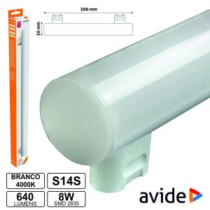 Lâmpada Tubular 8W 50cm LEDS S14s 4000k 640lm AVIDE - (ABS14SNW-8W)