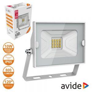 Foco LED 10W 230V 4000k 800lm Branco IP65 AVIDE - (ABSSFLNW-10W-W)