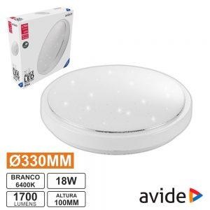 Aplique LED Redondo18W 330mm 6400K 1700lm Alice AVIDE - (ACLO33CW-18W-AL)