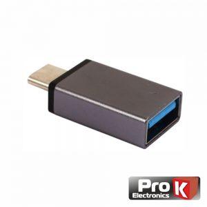 Adaptador USB-C Macho / USB-A 3.0 Fêmea PROK - (ADPUSB3.0C/3)