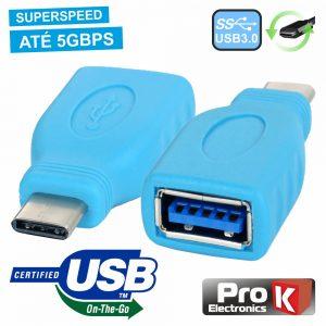 Ficha Adaptadora USB-C 3.0 Macho / USB-A Fêmea Otg - (ADPUSB3.1C/2)