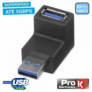 Ficha Adaptadora USB-A 3.0 Macho / Fêmea 90º PROK - (ADPUSB3/90)