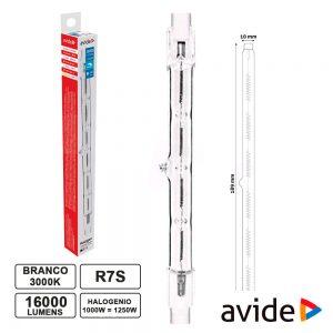 Lâmpada R7s 189mm 1000W=1250W 230V Halogéneo 16000lm AVIDE - (AHR7WW-B1000W)