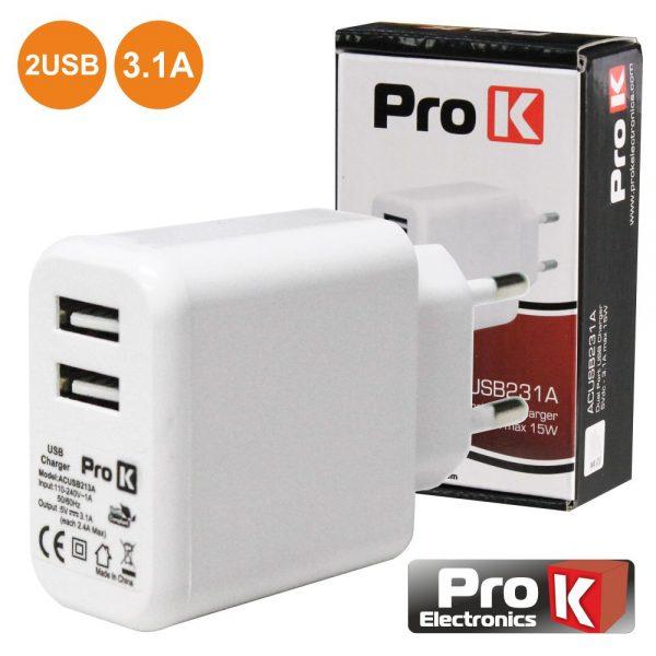 Alimentador Compacto Comutado 2 USB 5v 3.1A 15W PROK - (ACUSB231A)