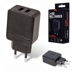 Alimentador Compacto 2 USB 5V 2.4A Preto - (MXTC-02)