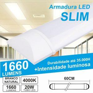 Armadura LED Batten Slim 20W 60cm IP20 4000K 1660lm - (ALS060NW(E))