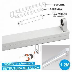 Armadura 1.2m P/ Lâmpada Tubular T8 - (ALTT1201(E))