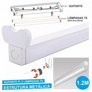 Armadura 1.2m P/ 2 Lâmpadas Tubular T8 - (ALTT1202(E))