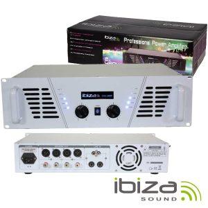 """Amplificador Áudio 19"""" 2x800W Branco IBIZA - (AMP1000-WH)"""