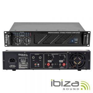 """Amplificador Áudio 19"""" 2x480W Preto IBIZA - (AMP600-MKII)"""