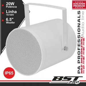 "Altifalante Projetor Som PA 100V 6"" 20W IP65 ABS Branco - (AP2320)"