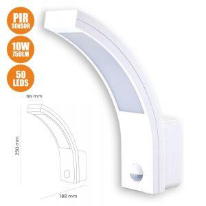 Aplique Exterior C/ Sensor 10W 750lm Branco - (32536)